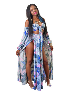Exotic on the beach- Tropical print maxi set - Khoris Kloset