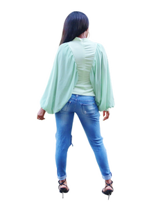 Business as usual- Batwing chiffon sleeve top - Khoris Kloset