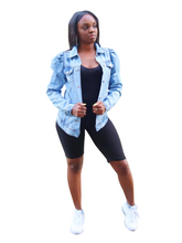 Load image into Gallery viewer, Puff point-Distressed puff sleeve jacket - Khoris Kloset