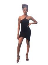 Load image into Gallery viewer, Time to strut- Asymmetrical black dress - Khoris Kloset