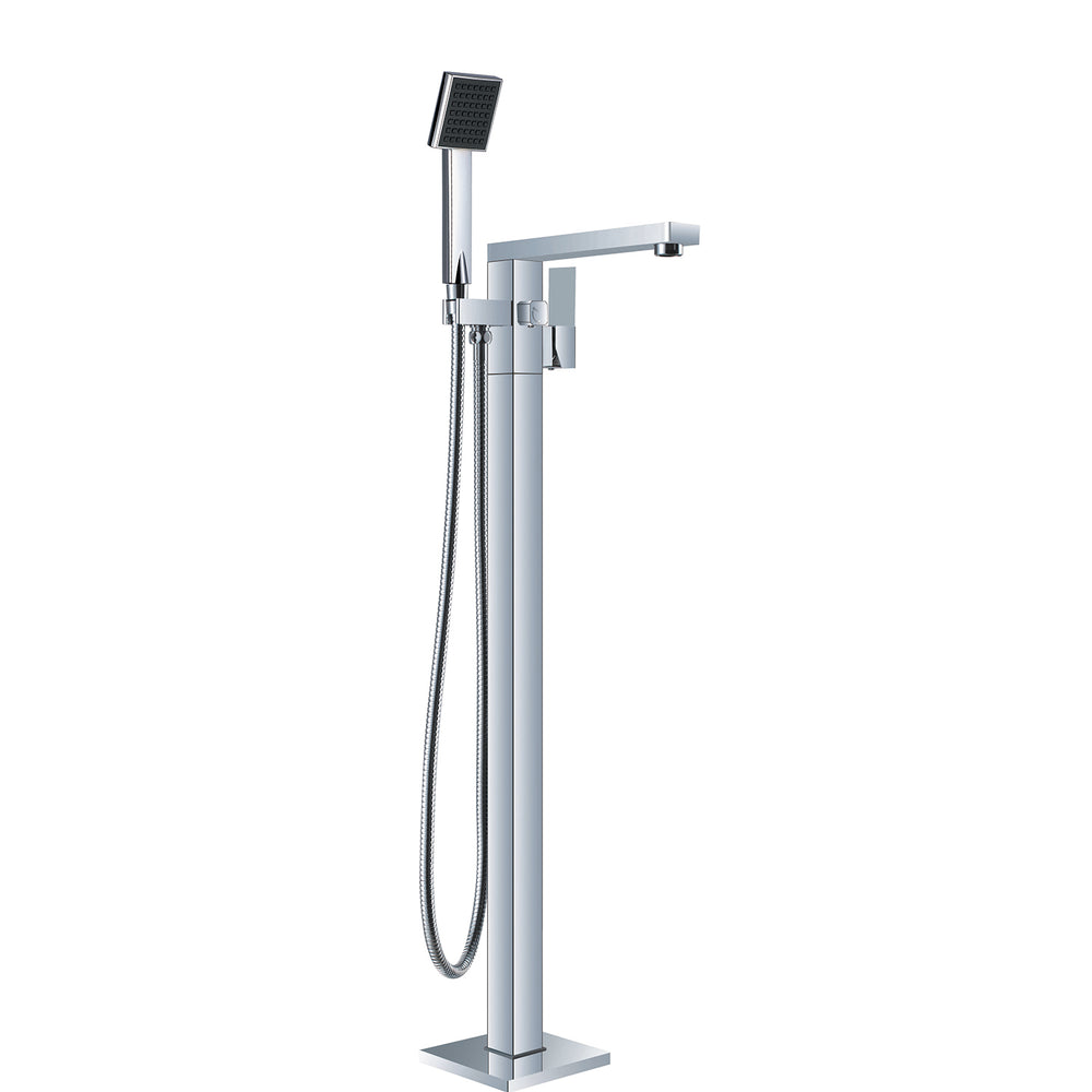VIBE SQUARE FLOORMOUNT MIXER WITH HANDSHOWER