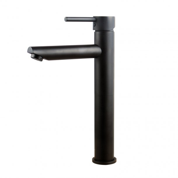 Round Tall Matte Black Basin Mixer