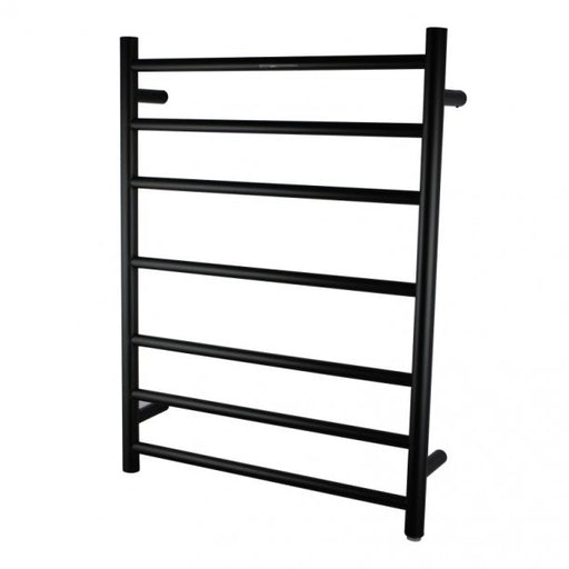 Round Matte Black 7 Bar Heated Towel Rail