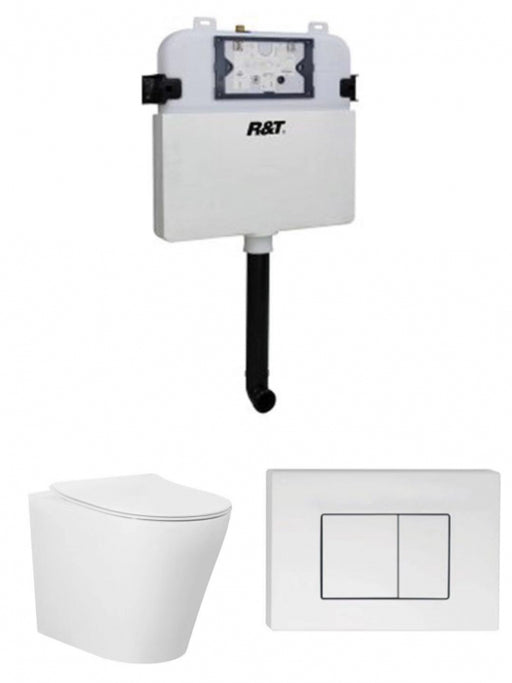 WALL FACE RIMLESS PAN R&T CISTERN SET