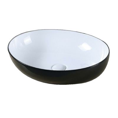 BASIN OVAL 600X400X150 WH&BLK