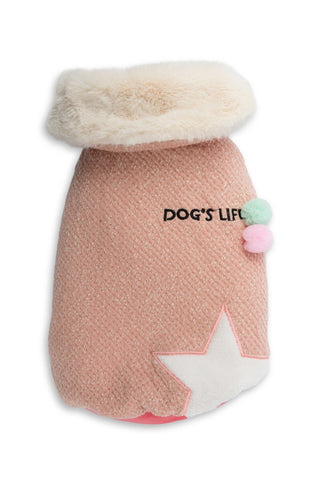 Dog's Life Woolly Cape with Star and Pompom Pink