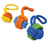 Tough Twist Rubber & Rope Ball Tug