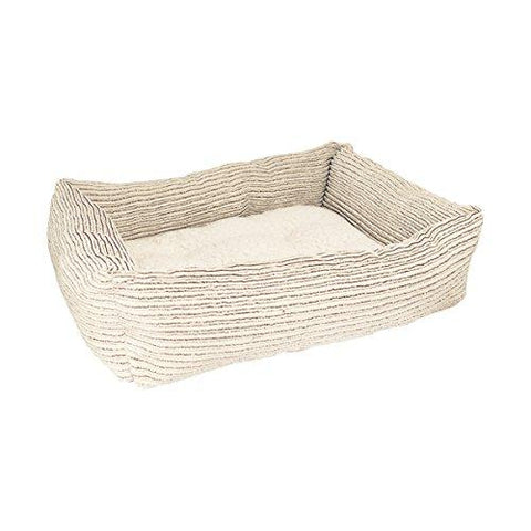 Beige Jumbo Cord / Teddy Square Bed