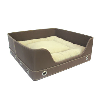 Bed, PUCCI Brown Leather with Cream Cushion
