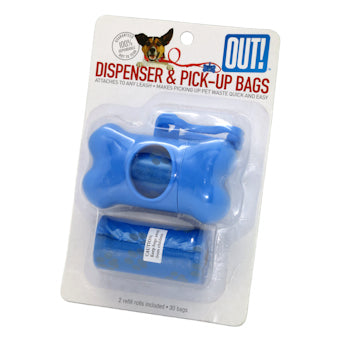 Poop Bag Holder, Bone Shape with 30 Bags