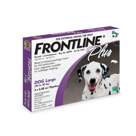Frontline Plus Spot-on Tick and Flea Treatment for Large Dogs (20 kg – 40 kg) Box of 3 Pipettes