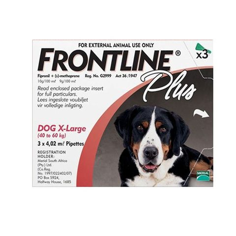 Frontline Plus Spot-on Tick and Flea Treatment for Extra Large Dogs (40 kg – 60 kg) Box of 3 Pipettes