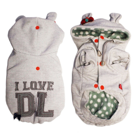 I Love Dog's Life Winter Hoodie Dog Jacket - Grey