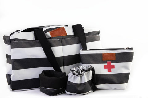 Luxury Pet Travel Bag - Black & White Stripes combo