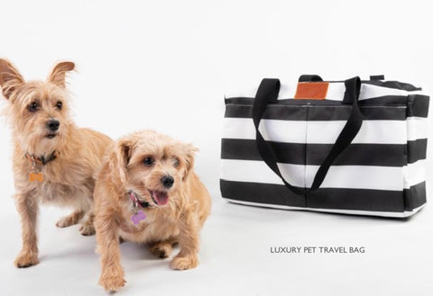 Luxury Pet Travel Bag - Black & White Stripes