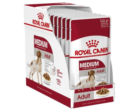 Royal Canin Medium Adult Wet Food Pouches - 10x140g
