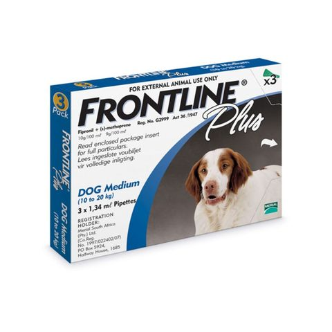 Frontline Plus Spot-on Tick and Flea Treatment for Medium Dogs (10 kg – 20 kg) Box of 3 Pipettes