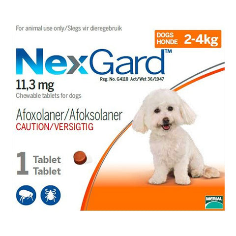 NexGard Small Dog 2-4kg Chewable Tick & Flea Tablet