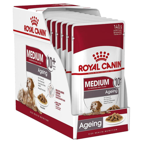 Royal Canin Medium Adult Adult Ageing 10+ Wet Food Pouches - 10x140g