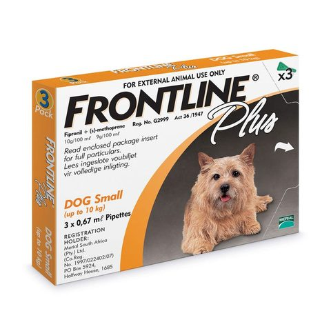 Frontline Plus Spot-on Tick and Flea Treatment for Small Dogs (up to 10 kg) Box of 3 Pipettes