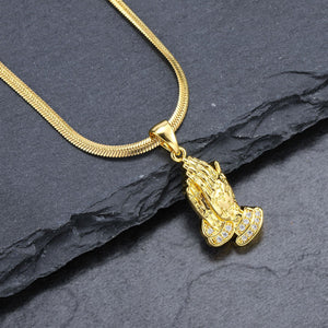 Iced Out Praying Hands Necklace in 18K Gold Filled with Diamond Cut Chain