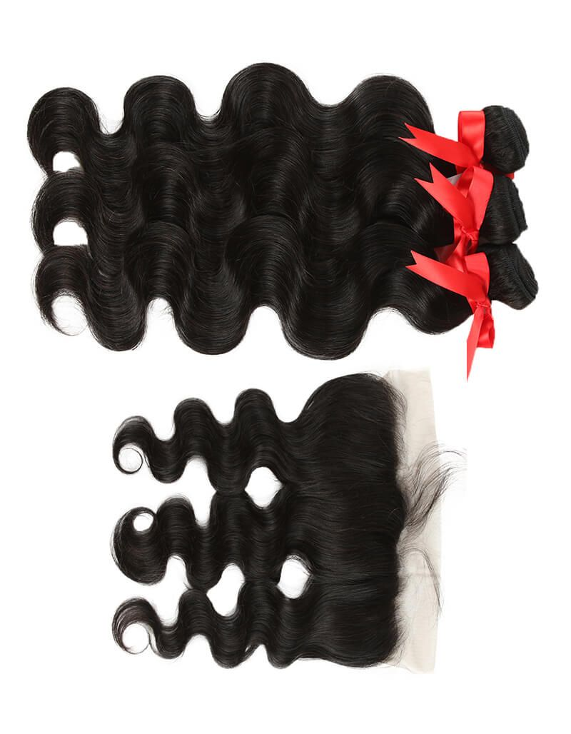 natural human hair body wave with 13*4 lace frontal side