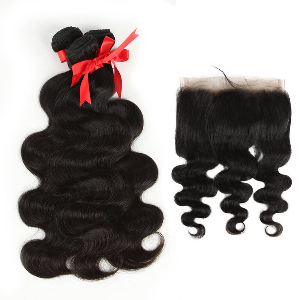 natural human hair body wave 3 bundles with 360 lace frontal