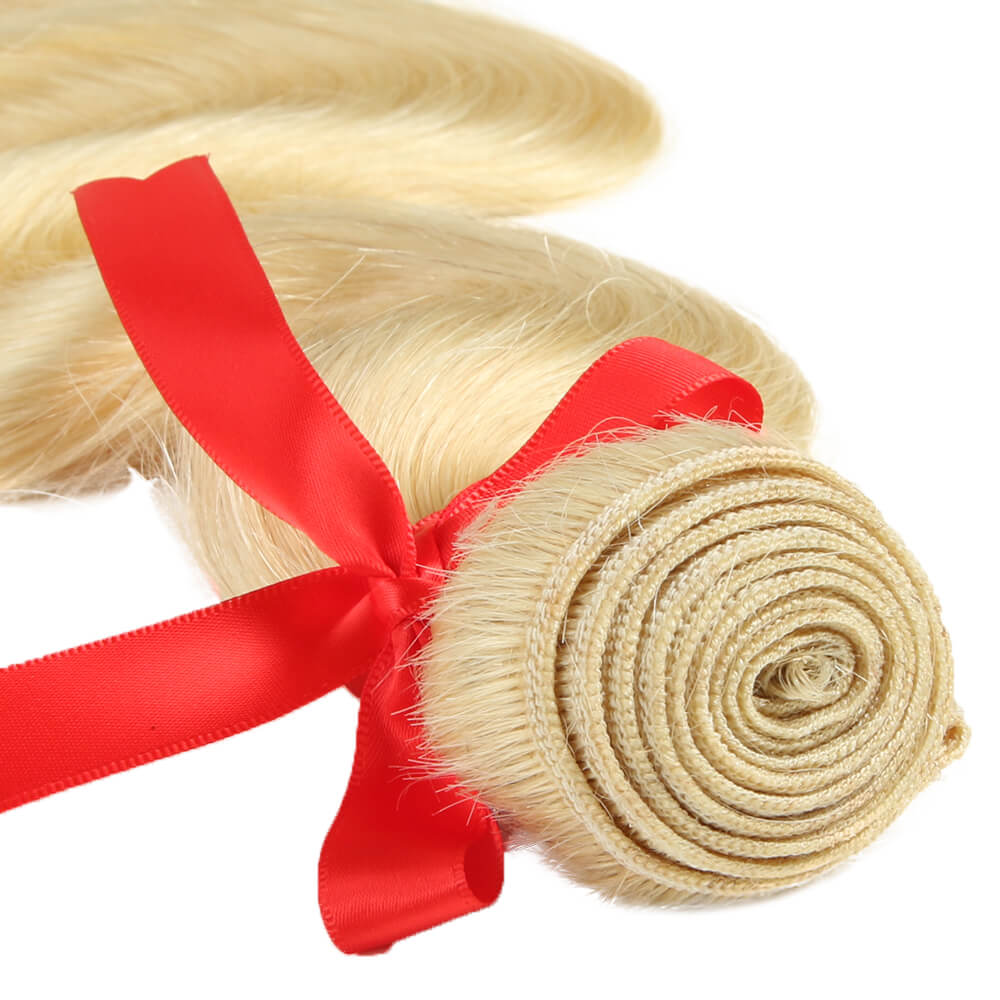 blonde human hair boby wave bundle weft