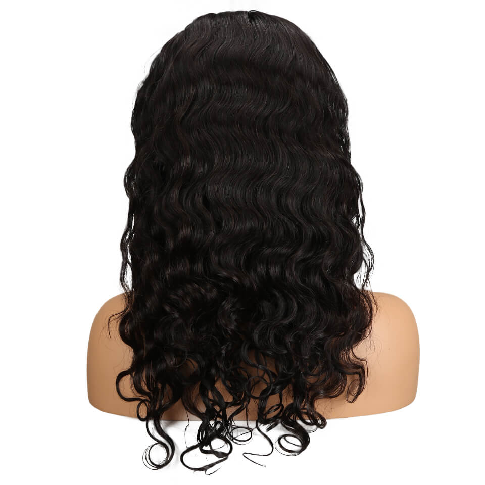 human hair body wave 360 lace frontal wig back