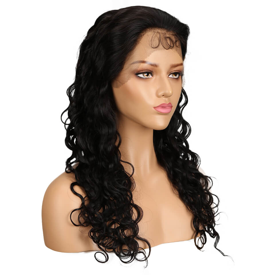 natural human hair boby wave 13*4 lace frontal wig left front