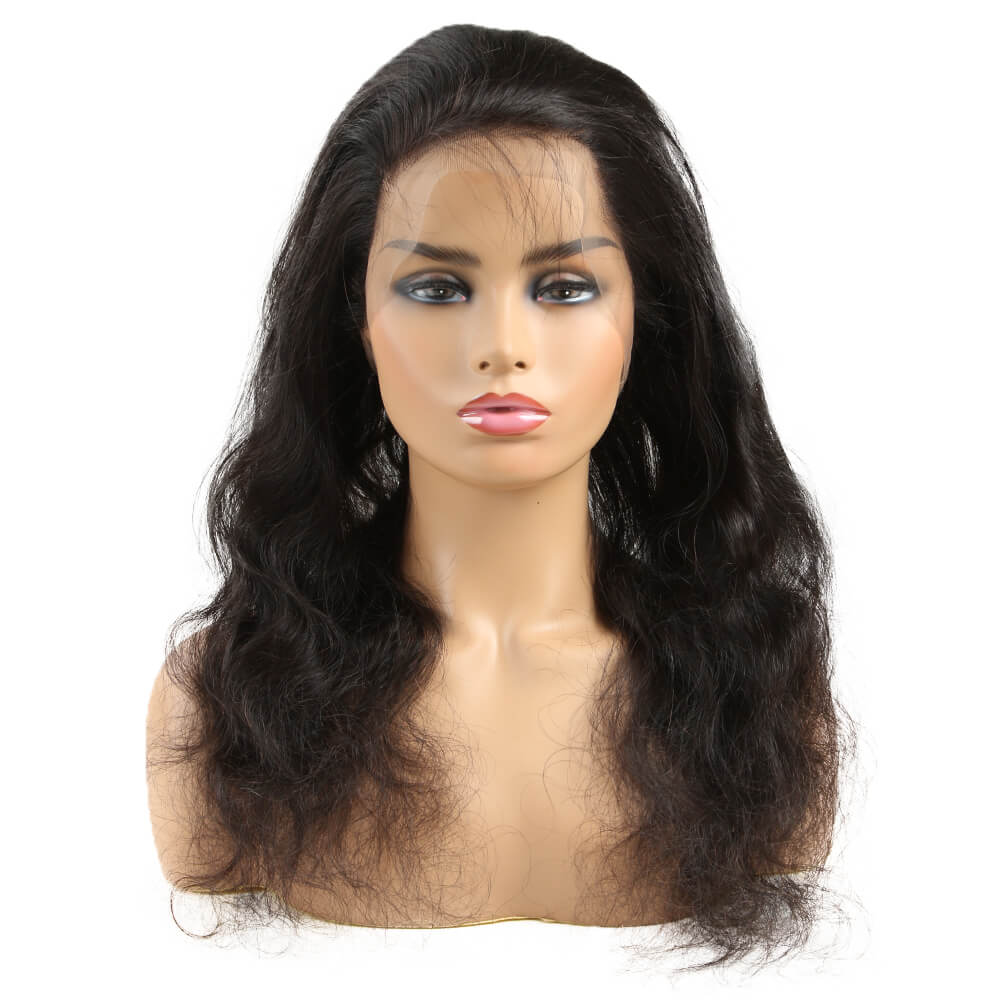 natural human hair body wave 3 bundles with 360 lace frontal model