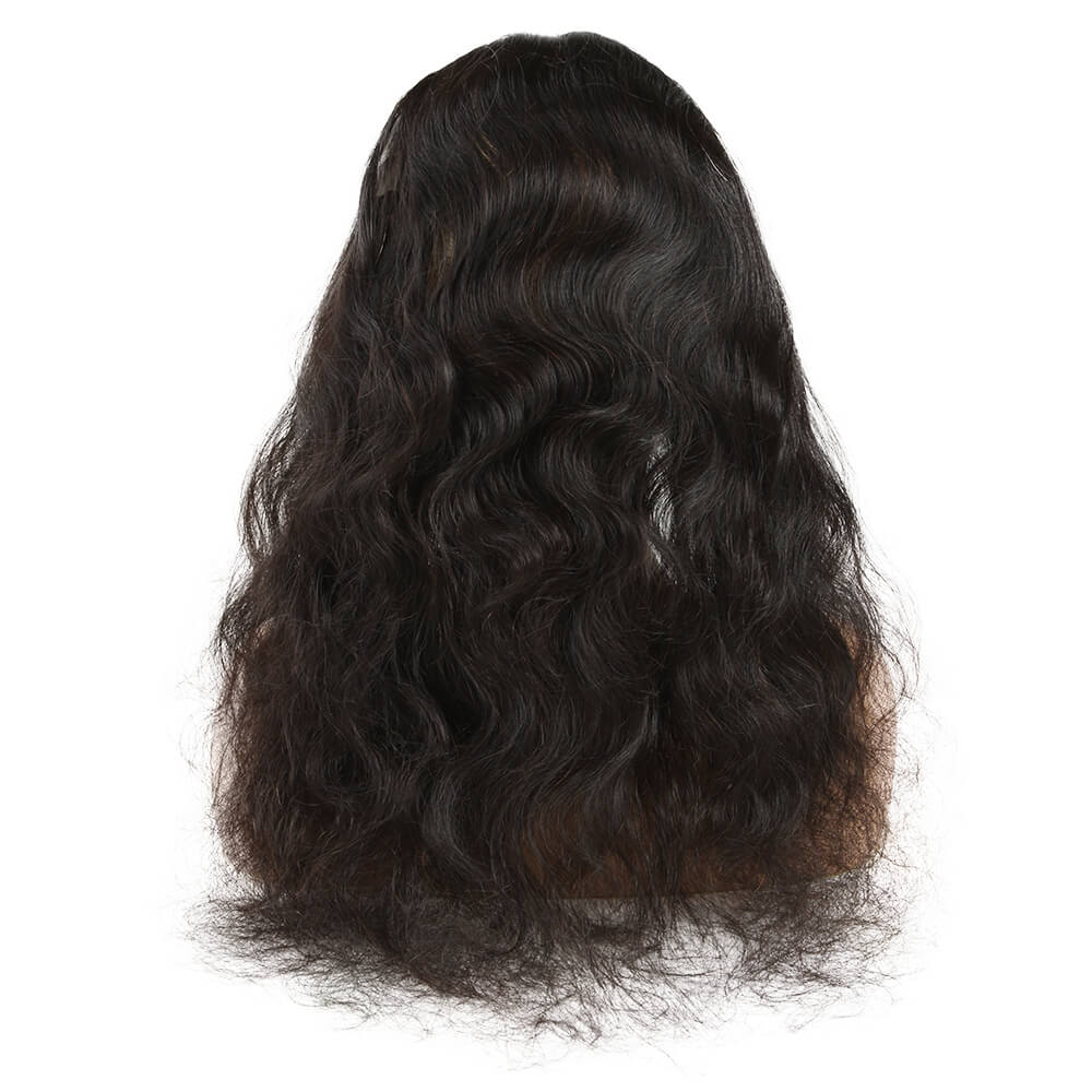 natural human hair body wave 3 bundles with 360 lace frontal model back