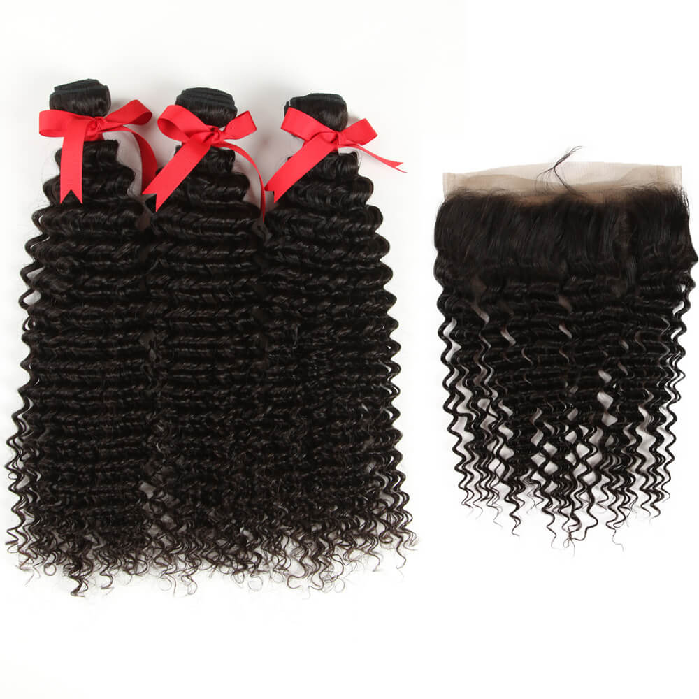 natural culy human hair 3 bundles with 360 lace frontal