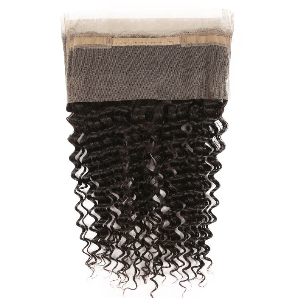 natural culy human hair 360 lace frontal lace net