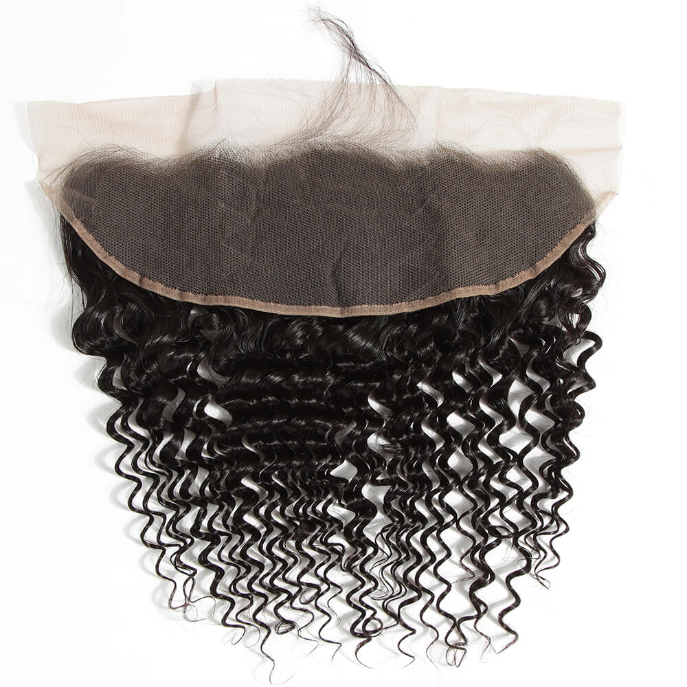 Curly human hair 13*4 lace frontal-back