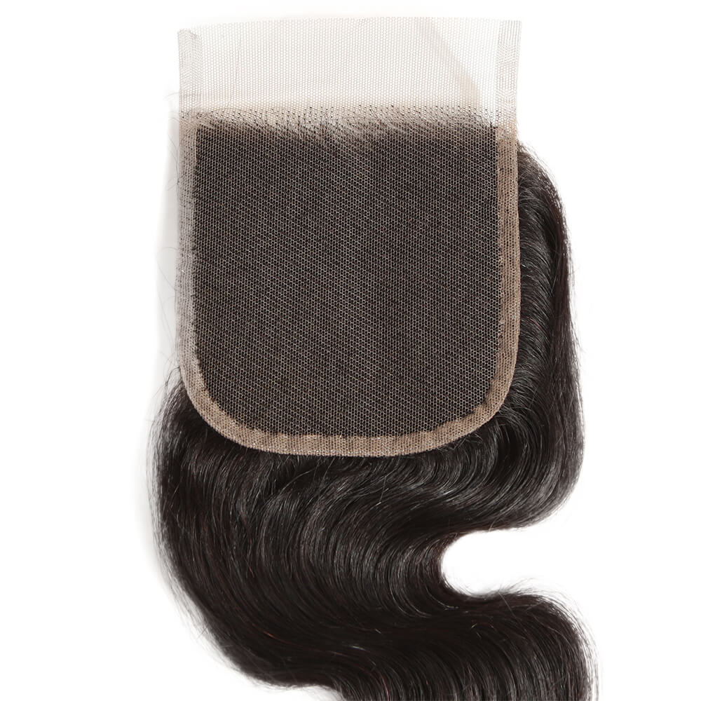 natural human hair body wave 4*4 lace closure lace net