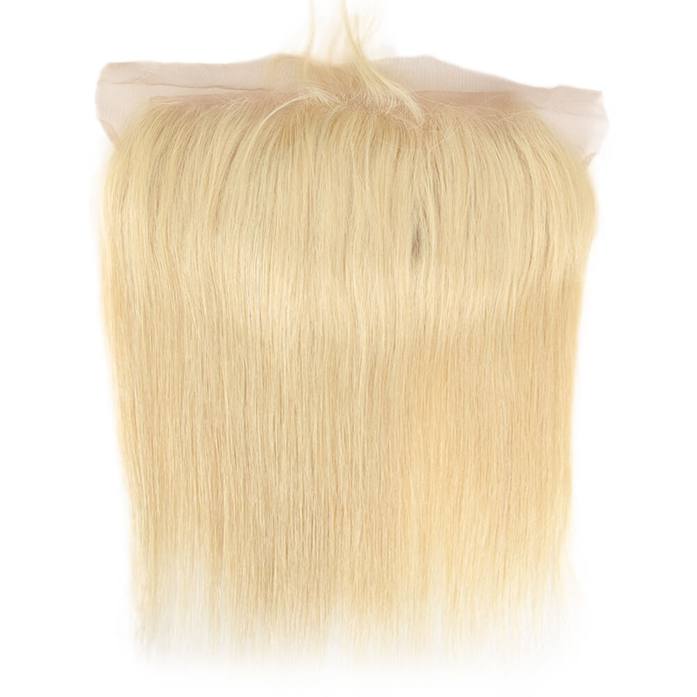 blonde straight human hair 13*4 lace frontal front