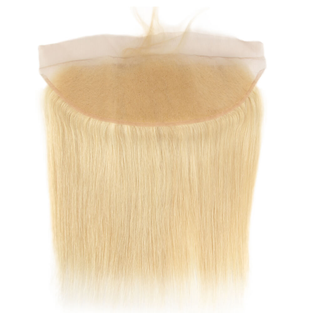 blonde straight human hair 13*4 lace frontal back