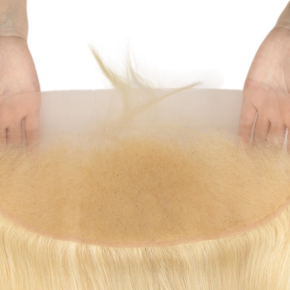 blonde straight human hair 13*4 lace frontal detail