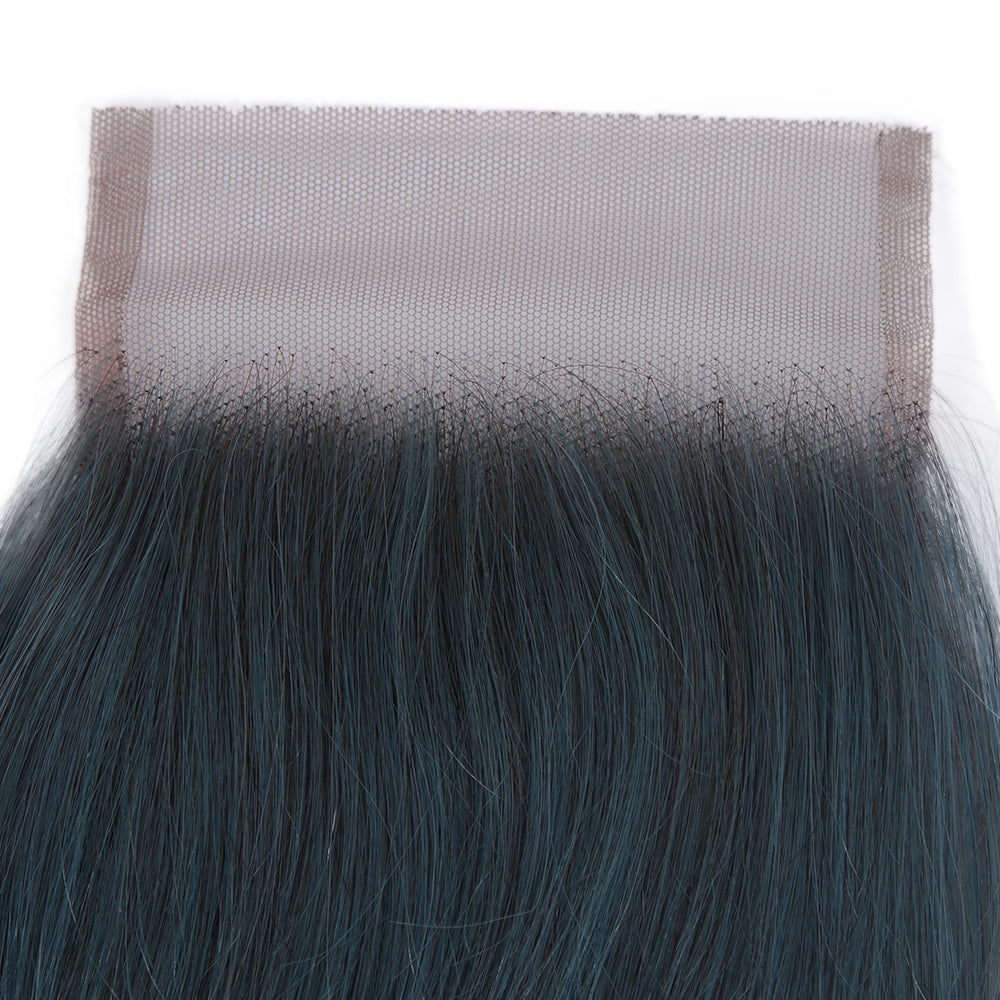 Queen Remy Human Hair 3 Bundles with Closure Straight Hair Weave Ink Blue Color