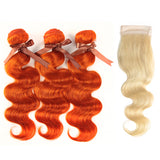 Queen Remy Human Hair 3 Bundles with Blonde Closure Body Wave
