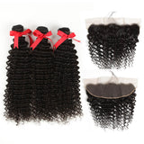 natural culy human hair 3 bundles with 13*4 lace frontal show
