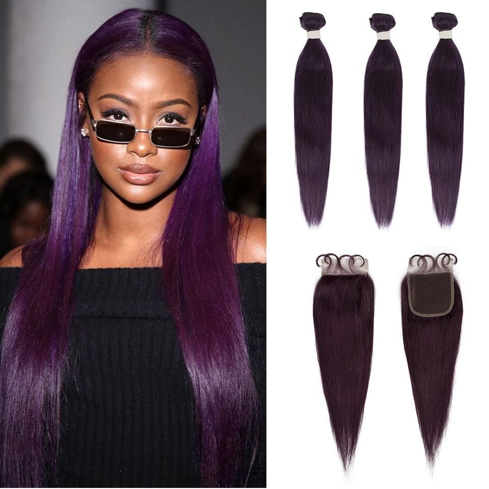 Queen Remy Human Hair 3 Bundles with Closure Straight Hair Weave Purple Color