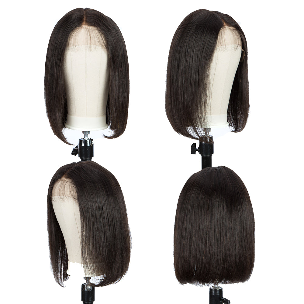 QVR 13*6 Lace Frontal Human Hair Bob Wigs Bleach Knots Wig