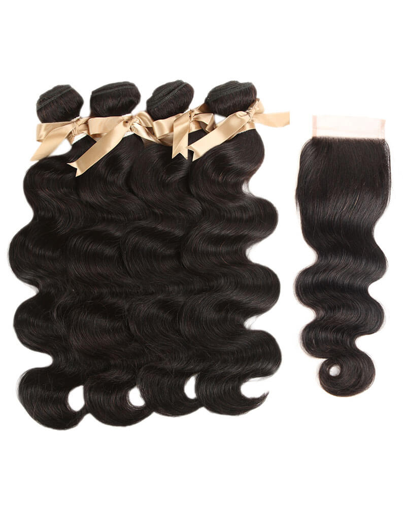 Queen Remy 4 Bundles Body Wave With 4x4 Lace Closure