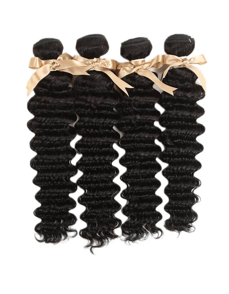 Queen Remy 4 Bundles Deep Wave With 4x4 Lace Closure