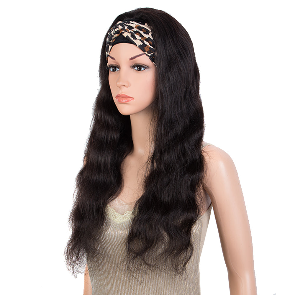 Queen Remy Human Hair Headband Wig Body Wave Headwrap Wig Natural Color