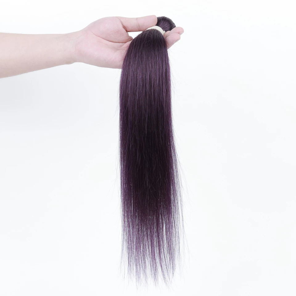 Queen Remy Human Hair 3 Bundles Straight Hair Weave Purple Color