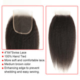 natural kinky straight human hair 4*4 lace closure detail