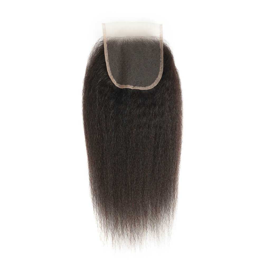 natural kinky straight human hair 4*4 lace closure back